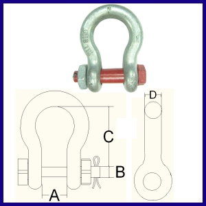 GBB G-2130 GALV. Bow Shackle with nut