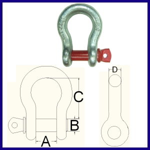 GBU G-209 GALV. Bow Shackle